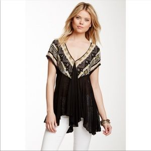 Free People We Are Golden Tunic Tee Boho Small